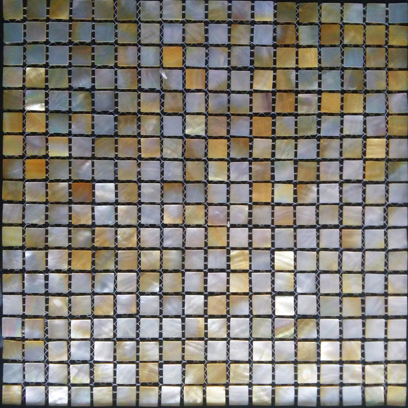 "Gold Mother of Pearl Shell Mosaic Sheet 15mm - 1/2"", 1 tile"